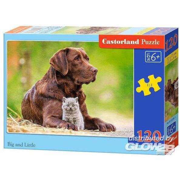 Big and Little : un chaton et un chien Puzzle 120 pièces