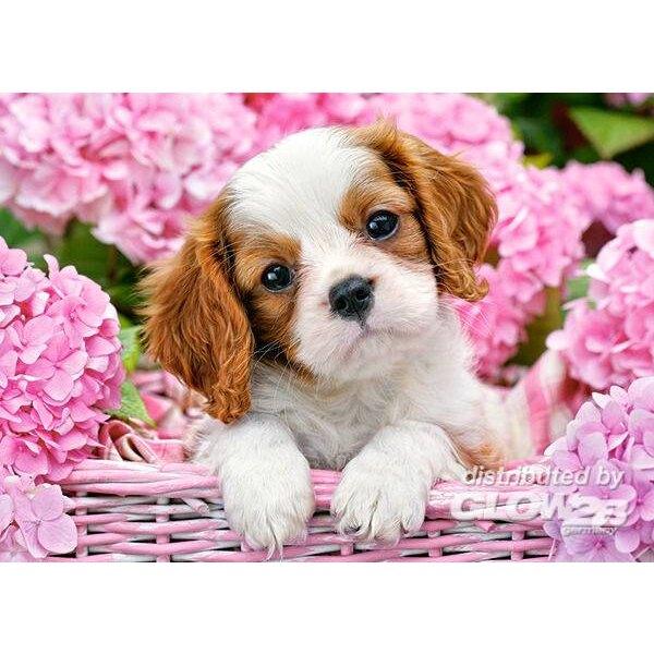 Chiot dans un panier de fleurs roses Puzzle 180 pièces