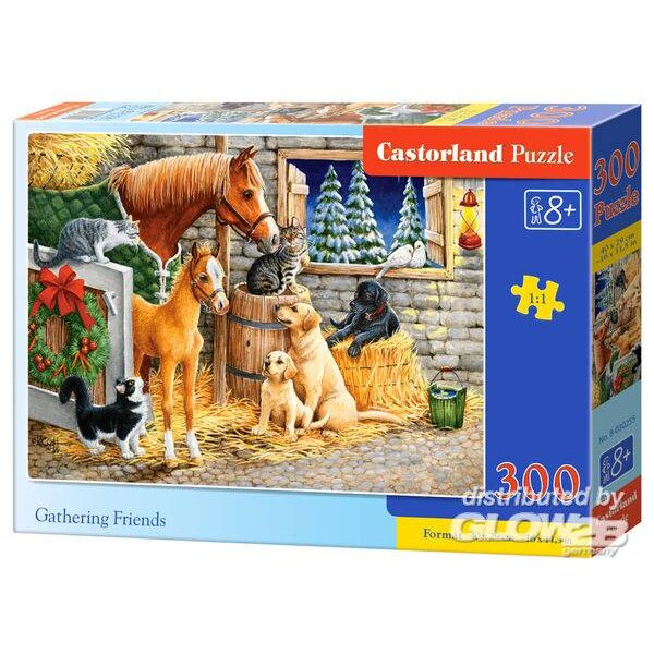 Un rassemblement de chevaux, chiens et chats Puzzle 300 pièces