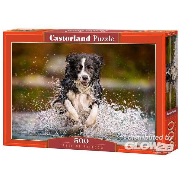 Goût de la liberté et chien dans l'eau Puzzle 500 pièces