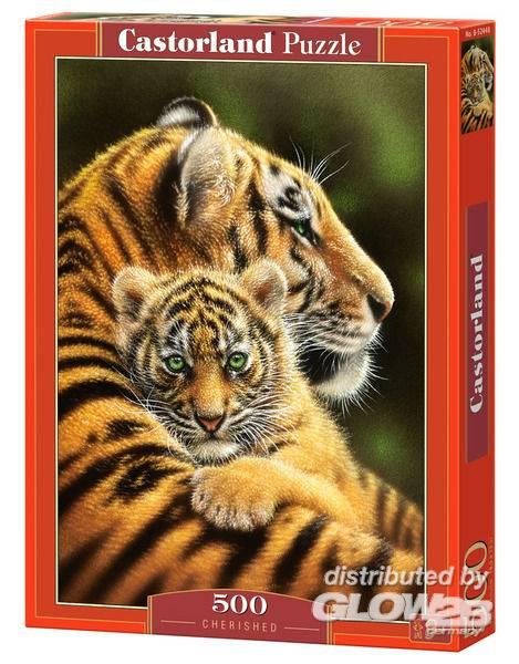 Puzzle - Bébé tigre avec sa maman Puzzle 500 pièces--Castorland
