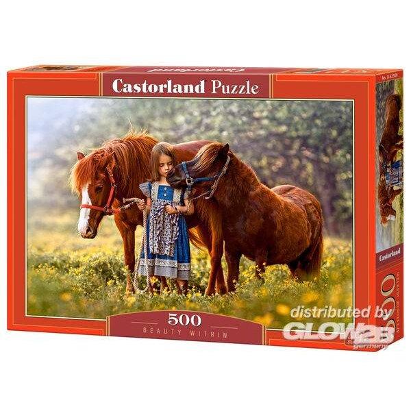 Petite fille avec ses poneys Puzzle 500 pièces