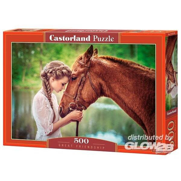 Grande amitié entre une fille et un cheval Puzzle 500 pièces