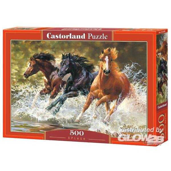 Trois chevaux galopant dans l'eau Puzzle 500 pièces