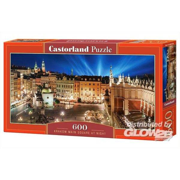 Place principale de Cracovie dans la nuit Puzzle 600 pièces