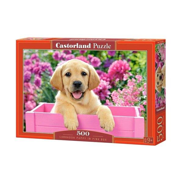 Puzzle Labrador chiot dans la boîte rose
