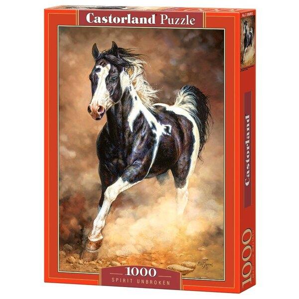 Cheval noir et blanc dans le sable Puzzle 1000 pièces