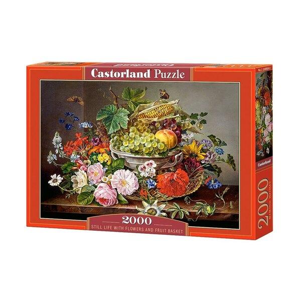 Nature morte avec des fleurs et corbeille de fruits Puzzle 2000 pièces