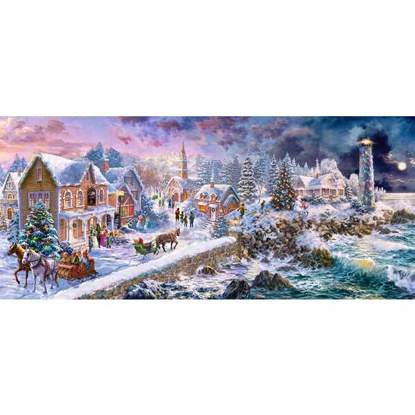 Un port sous la neige Puzzle 600 pièces