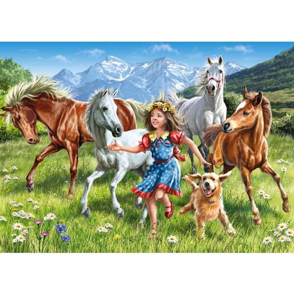 Une petite fille qui court avec ses chevaux et son chien Puzzle 120 pièces