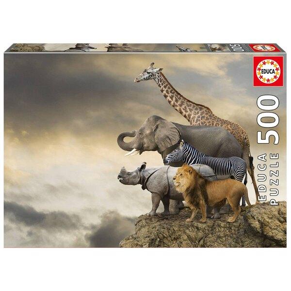 Animaux au bord de la falaise Puzzle 500 pièces
