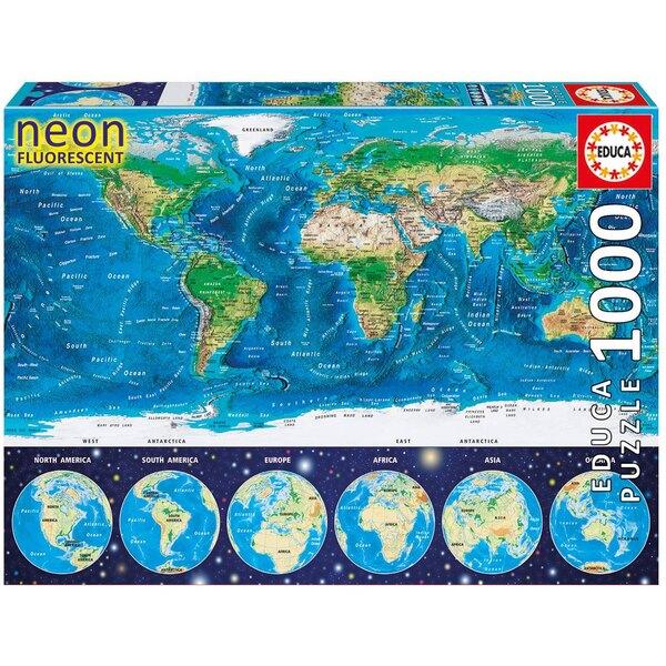 Mappemonde neon Puzzle 1000 pièces