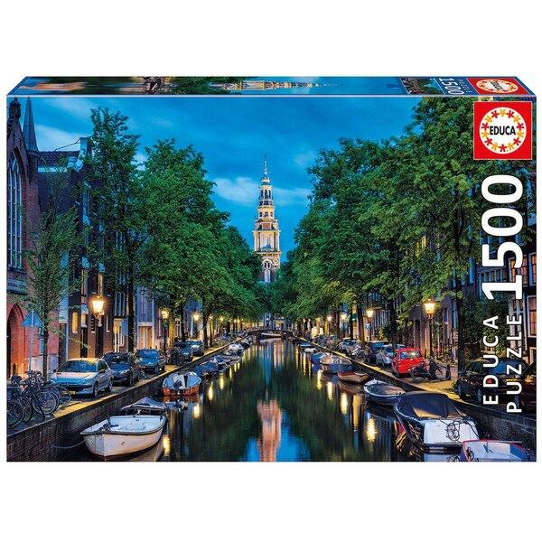 Canal d'amsterdam a l'aube Puzzle 1500 pièces