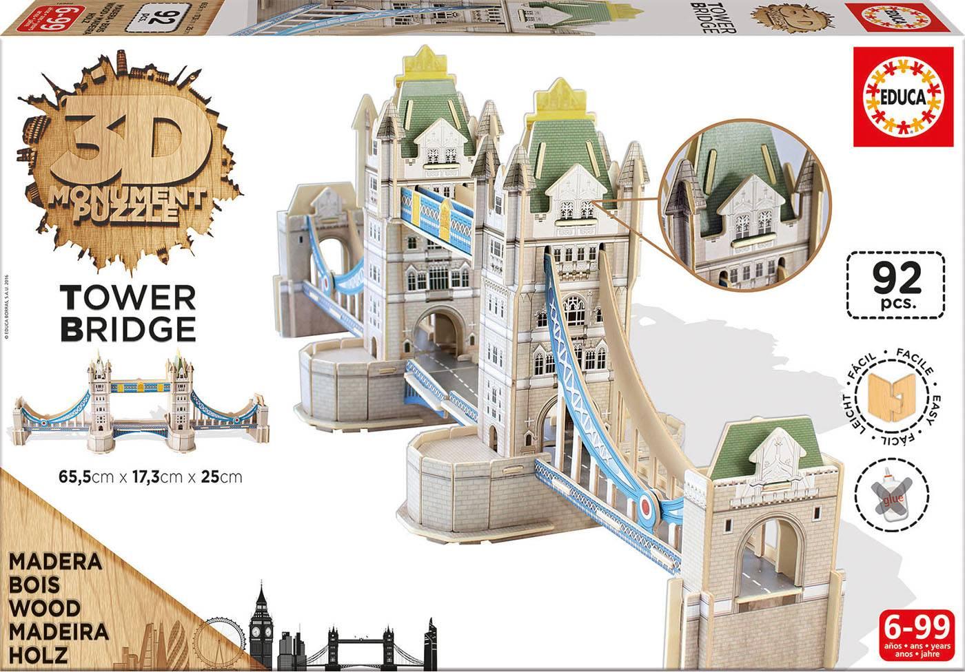 Puzzle 3d - 3d monument puzzle tower bridge Puzzle 3d 92 pièces--Educa