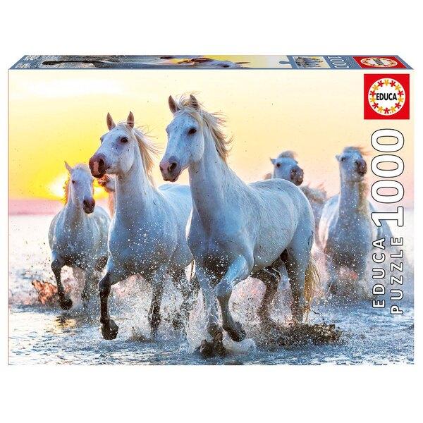 Chevaux blancs au coucher du soleil Puzzle 1000 pièces