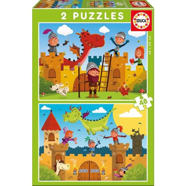 Dragons et chevaliers Puzzle 2 pièces