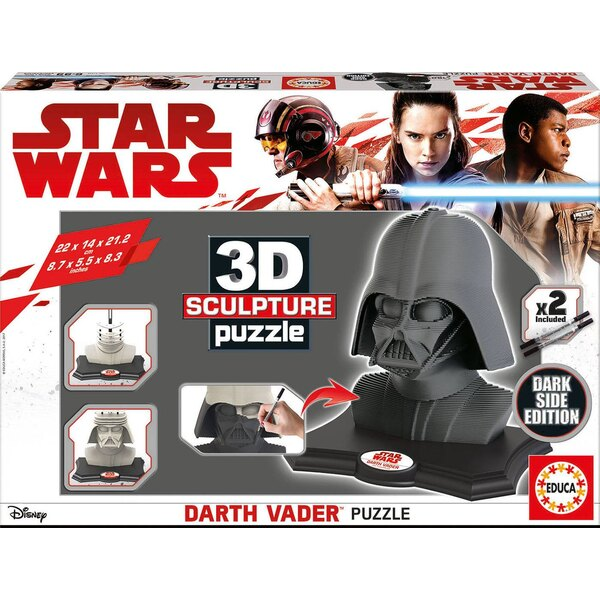 3d sculpture puzzle darth vader - dark side edition