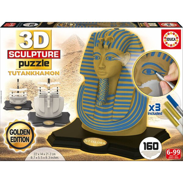 3d sculpture puzzle toutankhamon - gold edition