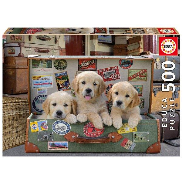 Des chiots dans les bagages Puzzle 500 pièces