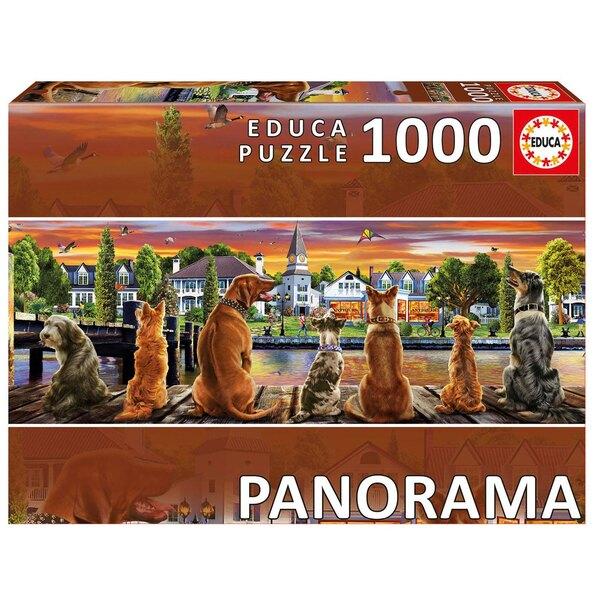 Chiens sur le quai « panorama » Puzzle 1000 pièces