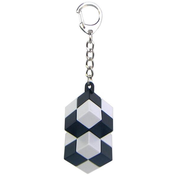 Porte-clés cube double - attache mousqueton - noir et blanc