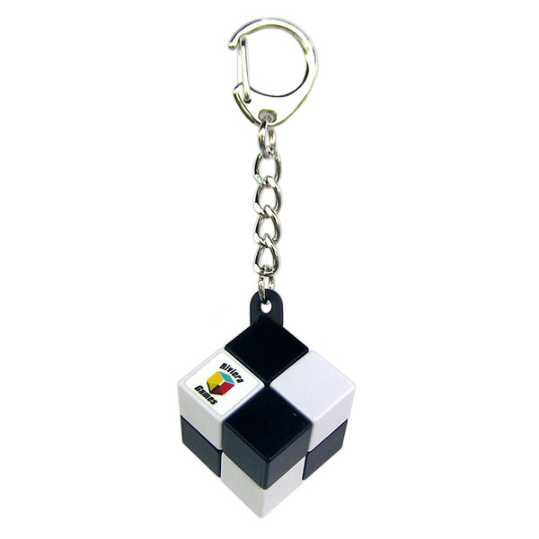 Porte-clés cube simple - attache mousqueton - noir et blanc