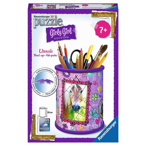 Pot à crayons - Girly Girl - Chevaux Puzzle 3d